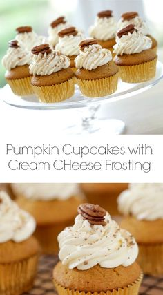 Pumpkin Cupcakes with Cream Cheese Frosting. An easy Thanksgiving dessert idea.  Includes recipe video too.