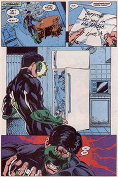 Women in Refrigerators (women in comics) - Kyle Rayner finds his girlfriend Alex in the refrigerator