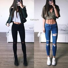 Left or Right? Outfit! ❣@ideiasparameninas  ⠀Follow: ♥ @ideiasparameninas  ⠀Sigam: ♥ @ideiasparameninas  Get inspired  Credit @kathiischr #penteado #perfect #inspiration #maquiagem #instablog #likeforlike #happy #yummy #instagood #loveit #tips #tutorial #blogger #diy #fashion #moda #followme #nice #hairstyle  #customizacao #tutoriais #idea #cupcake #nail #follow #makeup #dica #videotutorial #colorful