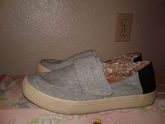 TOMS Altair 10007988 Grey Chambray Dot One for One Flat Shoes Cool Casual 7.5W #Toms #LoafersMoccasins #Casual