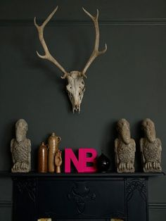love the wall color / skull / letters