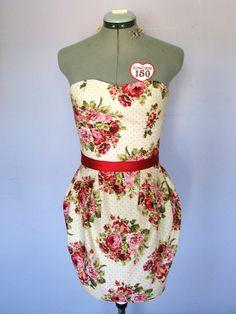 Ravishing Roses  summer  dress strapless sweetheart by HiddenRoom, $80.00