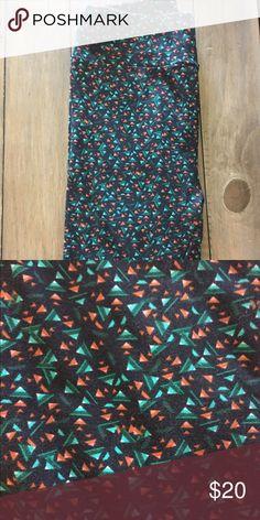 Lularoe OS Leggings! Wore once! Super comfy Lularoe OS leggings. Black, orange, green. Only wore once! LuLaRoe Pants Leggings
