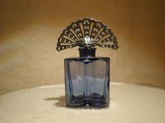 Vintage Light Blue Glass Perfume Bottle Silver by IslandBertie, $35.00