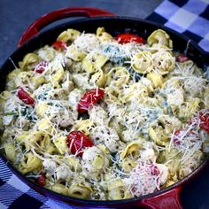 Italian sausage, basil pesto sauce, spinach, and mushrooms combine with tortellini for one quick weeknight meal that delivers flavor and ease. Sausage Tortellini, Pesto Tortellini, Fettuccine Pasta, Chicken Tortellini, Orzo, Best Chicken Recipes, Turkey Recipes, Recipe Chicken, Dinner Dishes