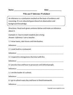 Who am I? Inference Worksheets