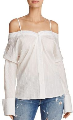 Alpha and Omega Off-the-Shoulder Button-Down Shirt
