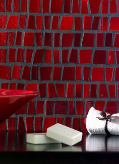 Red mosaic tiles.
