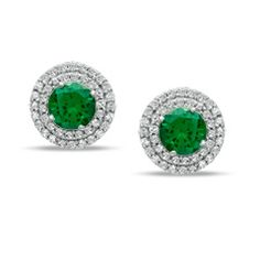 Lab-Created Emerald and 3/8 CT. T.W. Diamond Frame Stud Earrings in 10K White Gold