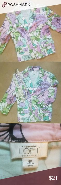 Ann Taylor Loft Petite Jacket Pastel print jacket in size 6p by Ann Taylor Loft. This is adorable with jeans or even a simple solid mini skirt and flats. Cute ruffle style flare on bottom back jacket. In great condition! Ann Taylor Jackets & Coats Blazers