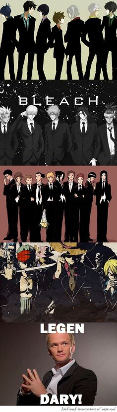 SUIT UP! Katekyo Hitman Reborn: we have no clue on how to pose. bleach: fuck ya this how u do the catwalk. Naruto: wedding party . one piece: it's time for another meeting.