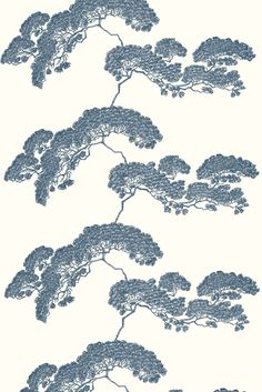 Japanese Tree in Dark Blue from Timorous Beasties, Scottish designers. Japanese Trends, Japanese Art Modern, Chinese Patterns, Japanese Patterns, Japanese Textiles, Japanese Fabric, Of Wallpaper, Pattern Wallpaper, Grey Japanese Wallpaper