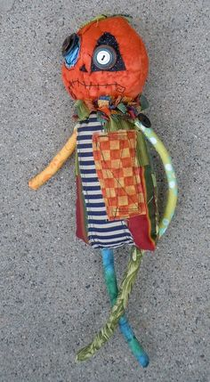 Pumpkin Head monster doll - by Monster Maud