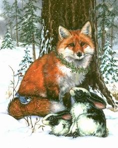 Winter Race illustration: image 42 -- by Donna Race [fox, rabbits, and nuthatch in the snow]