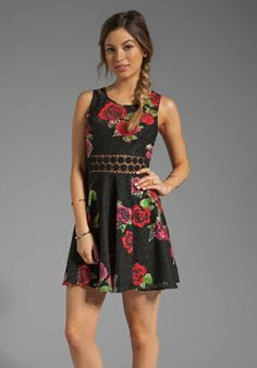FREE PEOPLE Printed Daisy Waist Dress in Black Combo - Sale