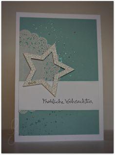 Weihnachtskarte glitzer stern stampin up eisschimmer embossed fröhliche weihnachten gesammelte grüße idee weihnachtskarte