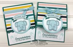 Welcome Baby card stamped with A Little Wild stamp set from Stampin' Up!. Embellished with the Decorative ribbon punch and Duet Banner punch greeting. By Patty Bennett