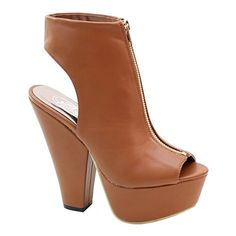 Brand New Brieten Ankle wrapped Peep toe Zipper Chuncky heel Bootie 85 Camel >>> You can find more details by visiting the image link.(This is an Amazon affiliate link and I receive a commission for the sales)