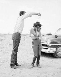 "rock hudson & elizabeth taylor on the set of ""giant."" marfa, texas, 1956."