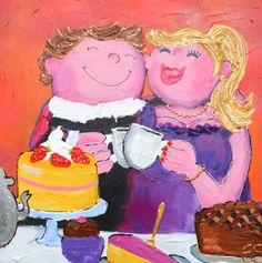 Art Gezellig Schilderij by Es Dikke dames schilderij www.gezelligschilderij.nl