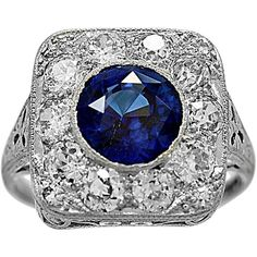 Preowned Antique 2.50 Carat Natural Sapphire Diamond Platinum... (€8.335) ❤ liked on Polyvore featuring jewelry, rings, blue, engagement rings, diamond rings, sapphire diamond ring, filigree engagement ring, diamond engagement rings and blue diamond rings