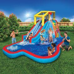 Banzai Water Slide, Kids Water Slide, Kids Slide, Water Slide Bounce House, Backyard Water Parks, Water Slides Backyard, Backyard House, Pool Backyard, Backyard Playground
