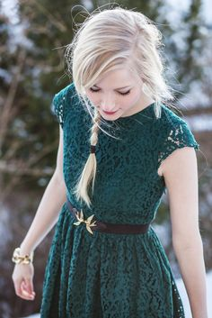 Forest green lace dress + bird belt (have this in my closet it's from H and M…