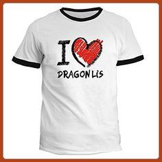 Idakoos - I love Dragon Li chalk style - Cats - Ringer T-Shirt - Fantasy sci fi shirts (*Partner-Link)