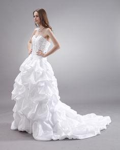 Ruffles Layered Sweetheart Chapel Bridal Ball Gown Wedding Dress  US$152.69