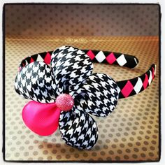 Hot Pink Black and White Houndstooth Flower with by BellesBows2011, $10.00