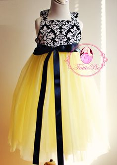 This is what our flower girl dress! @Chrisal Valencia   yellow damask Flower Girl Dress. $89.00, via Etsy.