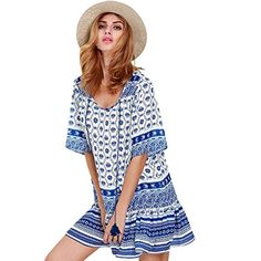 WILLTOO Women hot sell Summer Blue And White Bohemia Dress US Size14 *** You can get additional details at the image link.