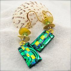 Sumaleigh -Dichroic Earrings,green earrings,gold plated,hana sakura,dichroic glass,fused glass earrings,dangle,drop,elegant,handmade,yellow by HanaSakuraDesigns on Etsy https://www.etsy.com/listing/233471898/sumaleigh-dichroic-earringsgreen