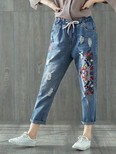 e113db4f4bf Vintage Embroidery Drawstring Waist Women Ripped Denim is a trendy, Newchic  provides wide range of best cheap Denim & Jeans for you.