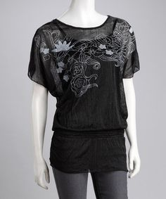Take a look at this Black Floral Layered Peasant Top by Life and Style Fashions on #zulily today!