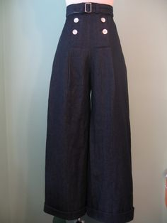 1930s 1940s vintage style sailor dark color denim pants with belt custom made