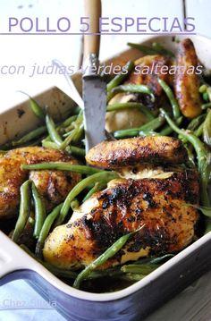 Pollo 5 especias chinas con judias salteadas al wok