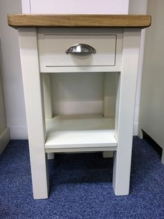 small bedside table painted in fu0026b off white with a rustic plank