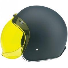 Biltwell Inc. / Bonanza Helmet - Flat Black, Bubble Shield - Yellow