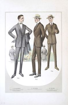 Original 1918 Taylor Clothes Company Men's Fashion Plate Original 1918 likely from a salesman's book of the Taylor Clothes Company of Chcago