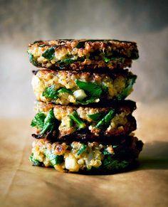 Occasionally Eggs: Quinoa & Swiss Chard Patties + Avocado Tahini Dip