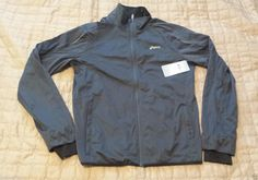ASICS men size M #running jacket front zip reflective quick drys NWT gray color visit our ebay store at  http://stores.ebay.com/esquirestore