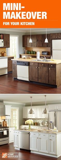 Get your own before and after with a mini-makeover for your kitchen. Cabinet refacing with The Home Depot can give your space a whole new look. And you can still use your kitchen during the quick three to five day install. Pick out your new hardware, cabi #HomeRemediesForSnoring #kitchencabinetrefacing