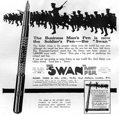 Advertisement for the famous Swan fountain pens, advising it as ...