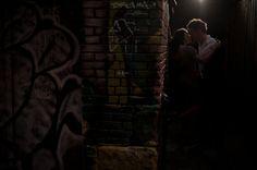 Night time engagement photo taken in a dark alley. Matt Kennedy - Portfolio Photo By www.mattkennedy.ca