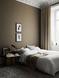 Black and white art on the bedroom wall Taupe Bedroom, Taupe Walls, Bedroom Wall Colors, Home Bedroom, Bedroom Decor, White Interior Design, Dark Interiors, Bedroom Styles, Minimalist Bedroom