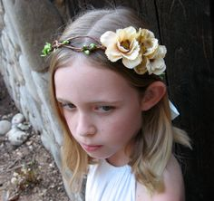 Cafe Latte Anemone Flower Girl Wreath  looped by BohoHaloCompany, $25.00