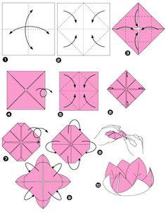 origami facile fleur modele de pliage pour un lotus
