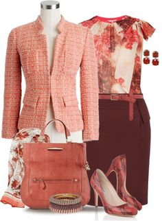 """Coral & Burgundy"" by yasminasdream ❤ liked on Polyvore"