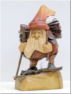 """The Polish gnome,""""Skrzat"""", have been popularized in Polish children's fairytales for many years. Authors Jan Brzecha and Maria Konopnicka immediately come to mind. This beautiful hand carved Grandfather Gnome is on his way back home from gathering kindlin"""